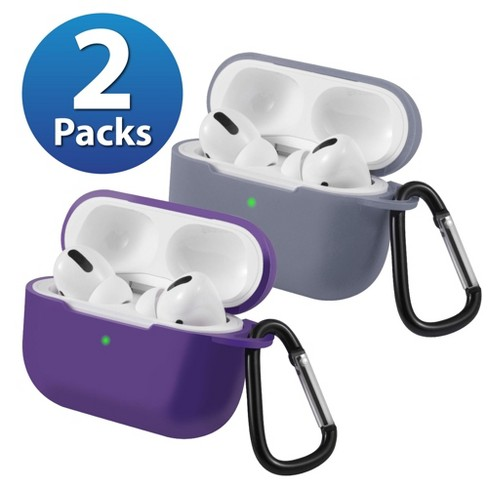 2-Pack For AirPods Pro Case [Lavender Gray & Purple] Ultra Thin Silicone Protective Cover with Keychain For Apple AirPods Pro 2019 (3rd Gen) by Insten - image 1 of 1