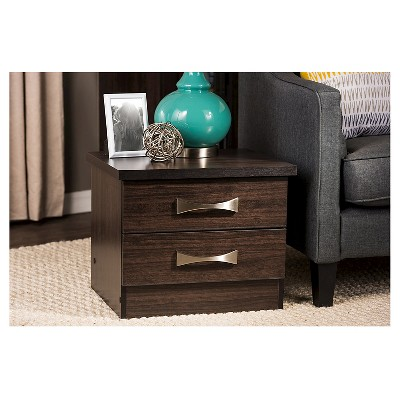 Colburn Modern And Contemporary 2 - Drawer Wood Storage Nightstand Bedside Table - Dark Brown Finish - Baxton Studio : Target