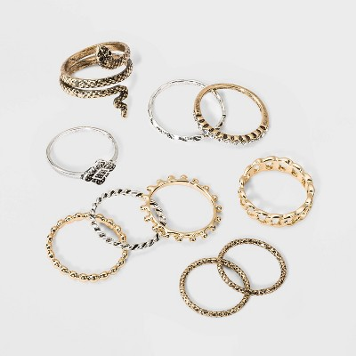 Snake, Curb Chain Band and Textured Ring Set 10pc - Wild Fable™
