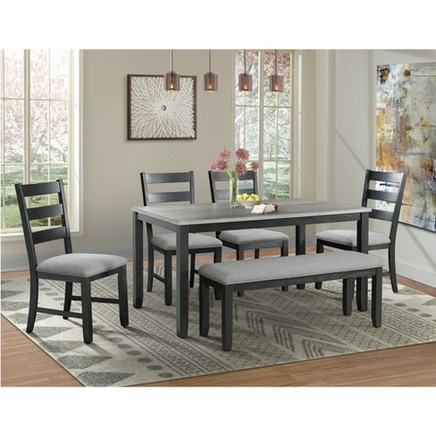 Kona Gray Dining Set-Table, Four Chairs & Bench - 6pc - Picket House Furnishings - image 1 of 4