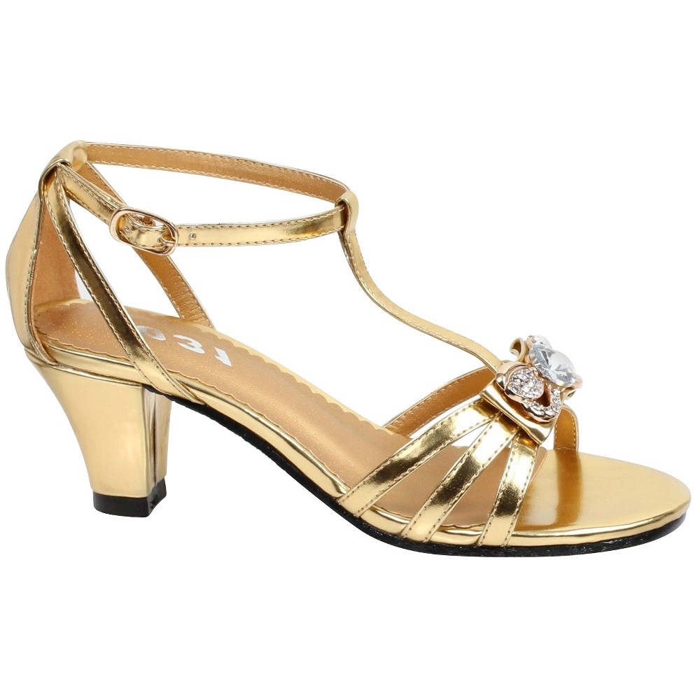 Strappy Girls' Heel Costume Shoe Gold - Large