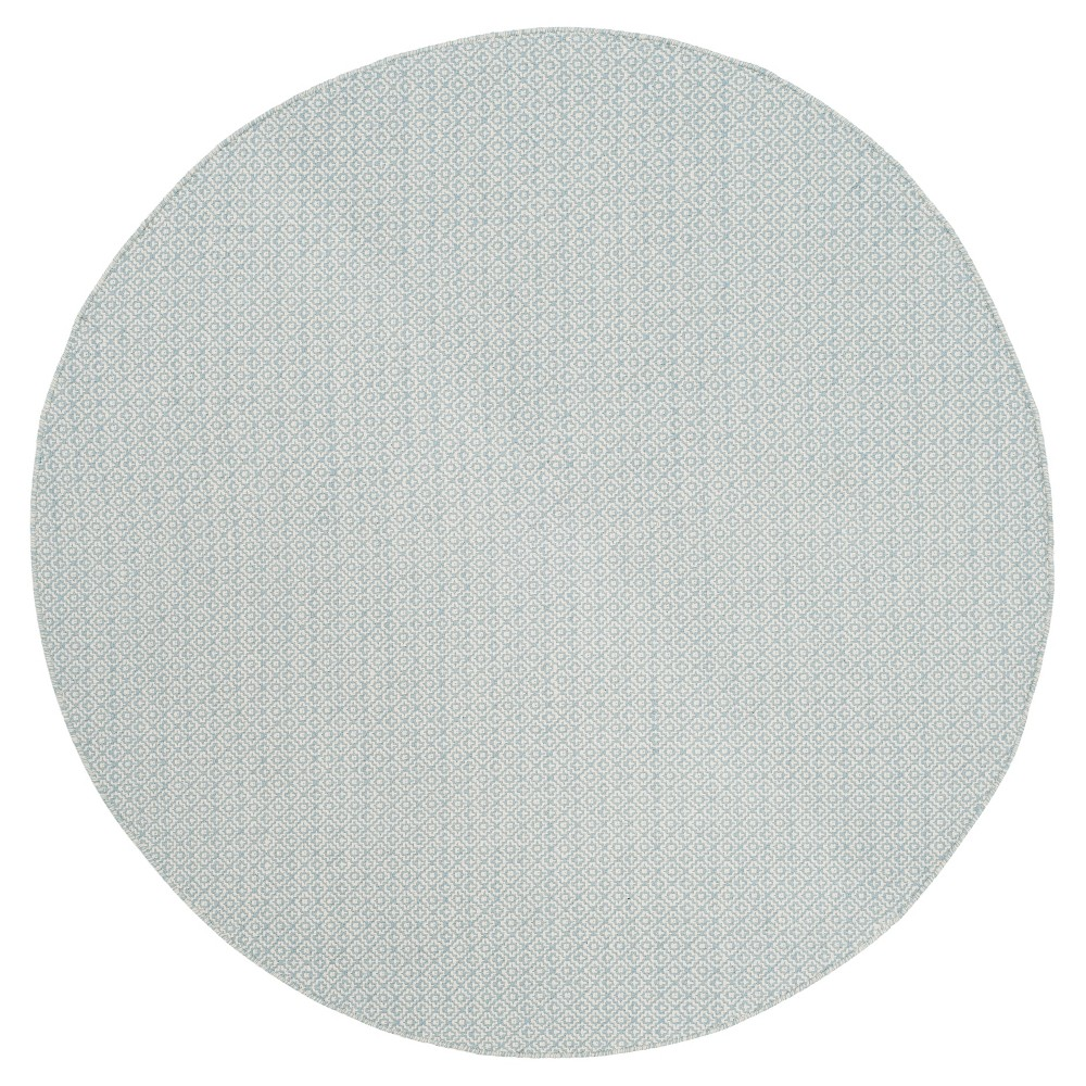 Ivory/Light Blue Geometric Flatweave Woven Round Area Rug 6' - Safavieh