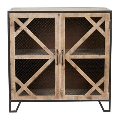 Industrial Metal and Wood Accent Cabinet Brown - Olivia & May