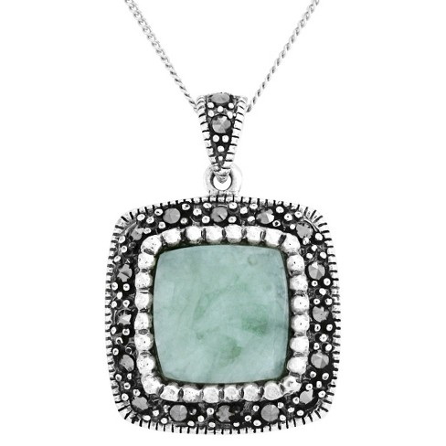 Marcasite and Jade Sterling Silver Pendant - Silver - image 1 of 1