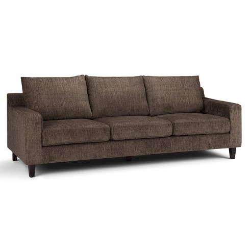 "91"" Calsy Sofa Deep Umber Brown Chenille Look Fabric - Wyndenhall - image 1 of 4"