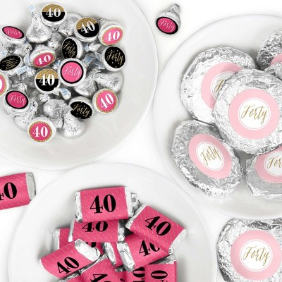Big Dot of Happiness Chic 40th Birthday - Pink, Black and Gold - Birthday Party Candy Favor Sticker Kit - 304 Pieces