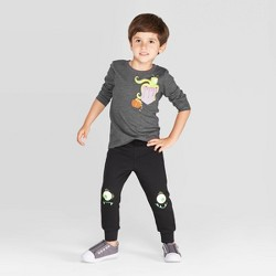 Toddler Boys' Monster Long Sleeve T-Shirt and Fleece Jogger Set - Cat & Jack™ Dark Gray