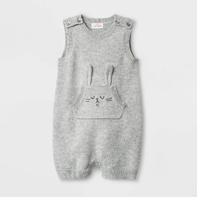 Baby Boys' Bunny Sweater Romper - Cat & Jack™ Heather Gray Newborn