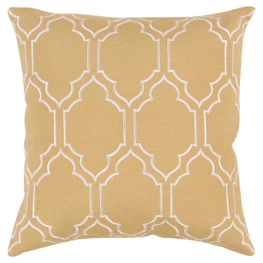 Gold Monticello Quatrefoil Throw Pillow 18