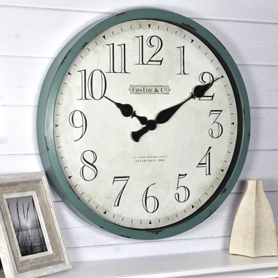 "24"" Bellamy Wall Clock Aged Teal - FirsTime & Co."