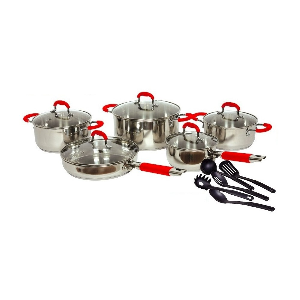 Image of Gourmet Chef 15pc Stainless Steel Cookware Set, Silver/Red