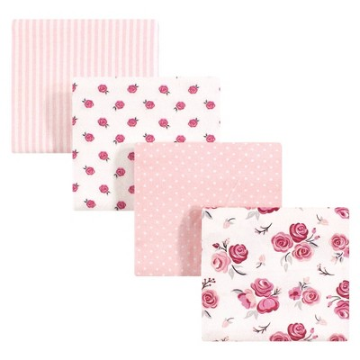 Hudson Baby Unisex Baby Cotton Flannel Receiving Blanket - Rose One Size