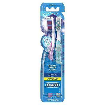 Oral-B 3D White Vivid Manual Toothbrushes Soft Bristles - 2ct