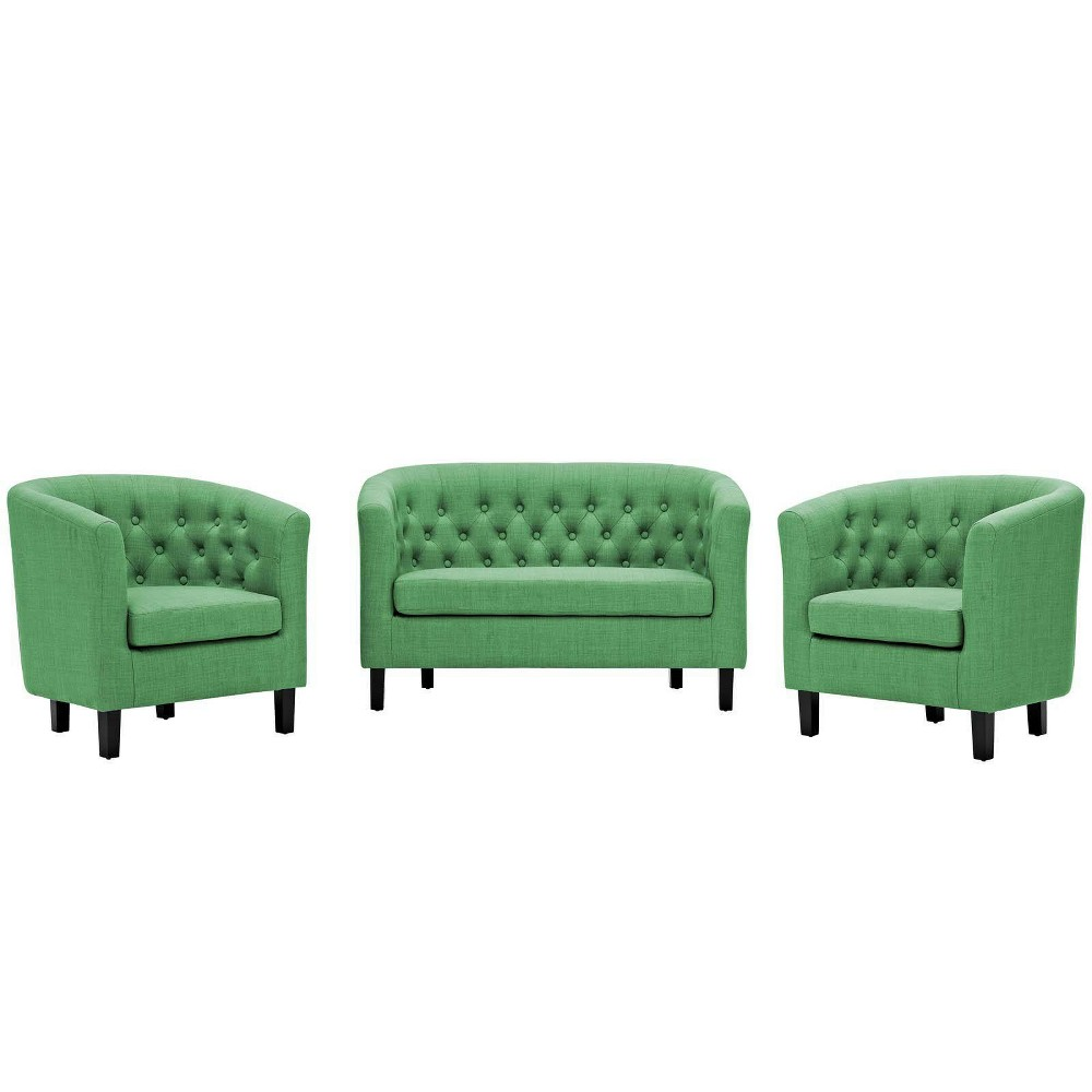 Image of 3pc Prospect Upholstered Fabric Loveseat & Armchair Set Green - Modway