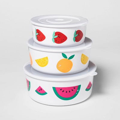 3pc Melamine Fruit Toss Food Storage Container Set - Sun Squad™