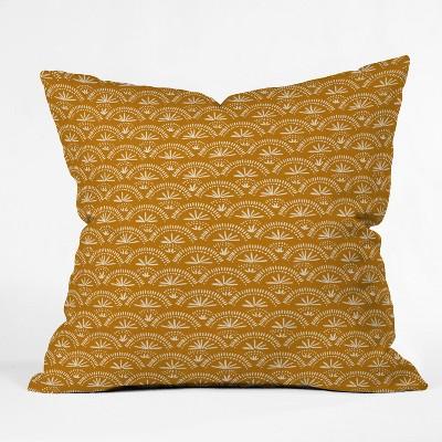 Joy Laforme Moroccan Fan Square Throw Pillow Yellow - Deny Designs