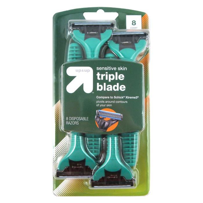 Men's Triple Blade Sensitive Skin Disposable Razor - 8ct - Up&Up™ - image 1 of 2