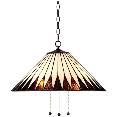 """Robert Louis Tiffany Bronze Plug In Swag Pendant Chandelier 21"""" Wide Tiffany Style Feather Art Glass Fixture for Dining Room House - image 1 of 4"""