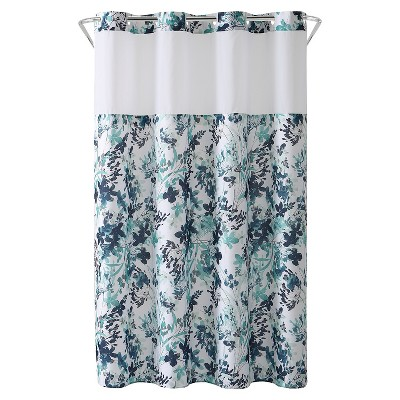 Watercolor Floral Shower Curtain with Liner - Hookless