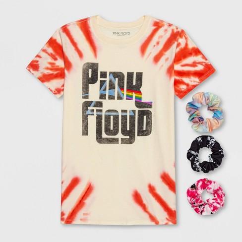 Women's Pink Floyd Short Sleeve Boyfriend Graphic T-Shirt with Scrunchies - (Regular & Plus) Ivory - image 1 of 4