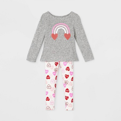 Toddler Girls' Rainbow Heart Long Sleeve Top and Leggings Set - Cat & Jack™ Gray 3T