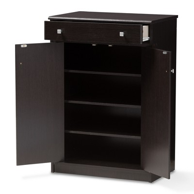 Dariell Modern And Contemporary Finished Shoe Cabinet Dark Brown - Baxton Studio : Target