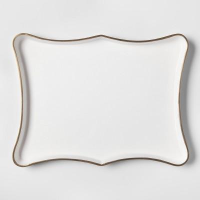 Rectangular Scalloped Tray - White/Gold - Threshold™