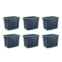 Rubbermaid Roughneck 18 Gallon Storage Tote, Dark Indigo Metallic (6 Pack)