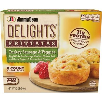 Jimmy Dean Delights Frozen Turkey Sausage & Bacon Frittatas - 6ct