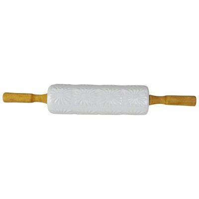 """Northlight 17.5"""" White Ceramic Floral Imprint Rolling Pin with Wooden Handles"""