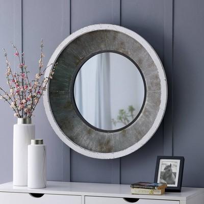 "31.5"" x 4"" x 31.5"" Cedar Hill Farmhouse Mirror Antique Silver - FirsTime & Co."