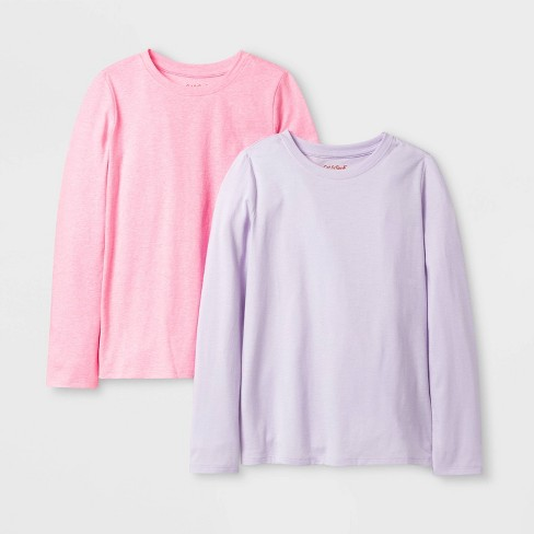 Girls' 2pk Solid Long Sleeve T-Shirt - Cat & Jack ™ Lilac/Bright Pink - image 1 of 1