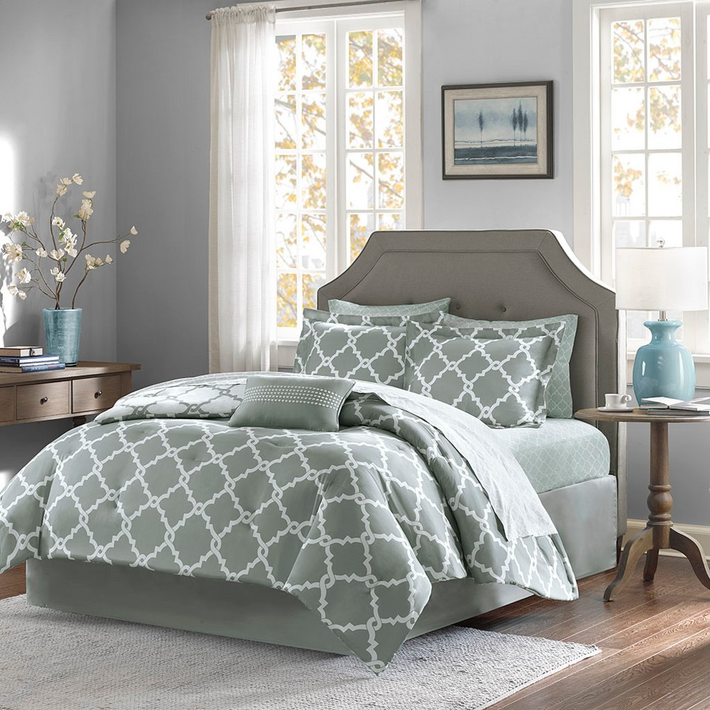 Image of Gray Becker Complete Multiple Piece Comforter and Sheet Set (Full) - 9 Piece