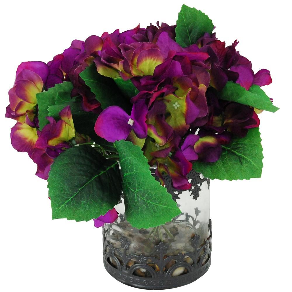 Image of Artificial Hydrangea Arrangement - Purple - 1ft - LCG Florals