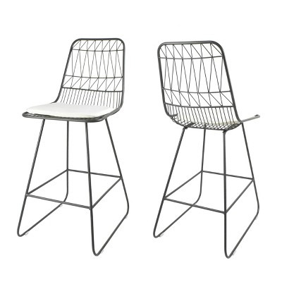 Set of 2 Walcott Modern Iron Counter Height Barstools - Christopher Knight Home