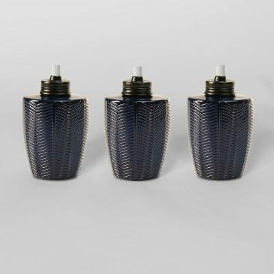 Tiki Brand 5.75  Herringbone Glass Table Torch Blue 3pk