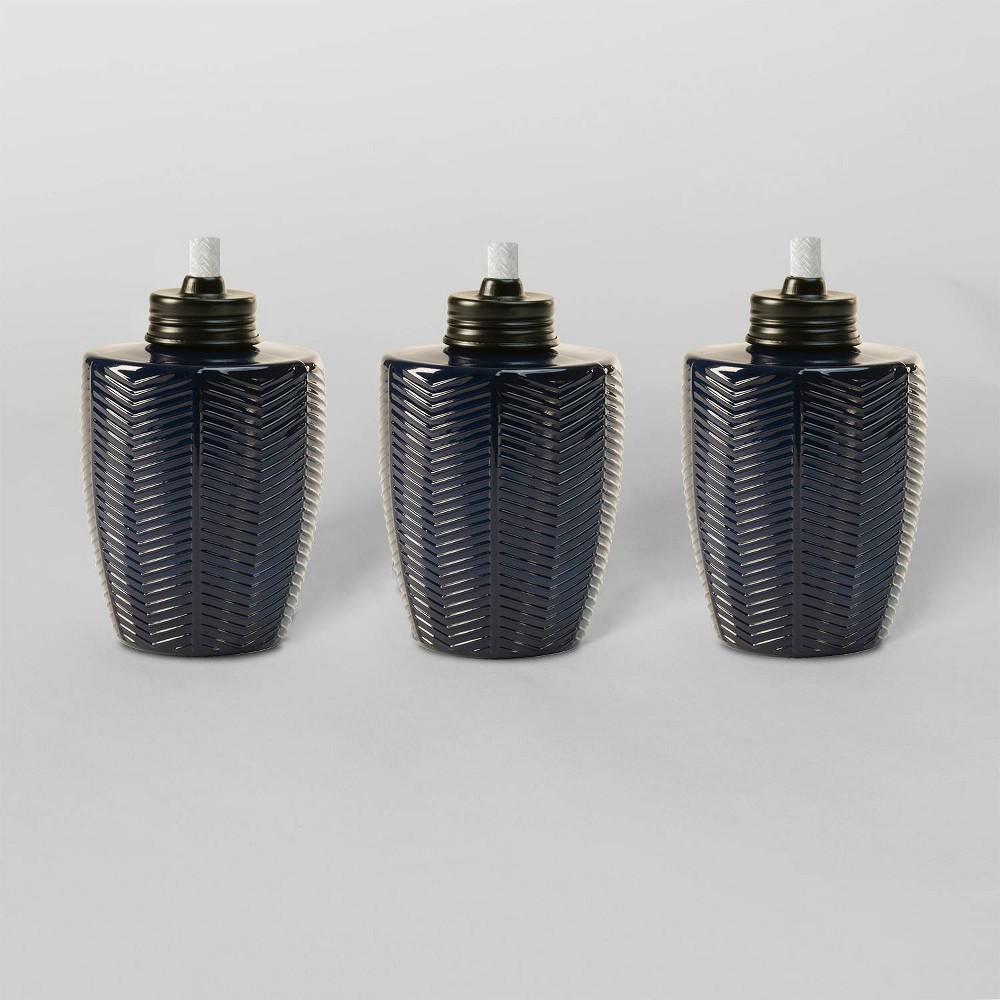 "Image of ""Tiki Brand 5.75"""" Herringbone Glass Table Torch Blue 3pk"""