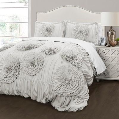 3pc Full/Queen Serena Comforter Set Light Gray - Lush Decor