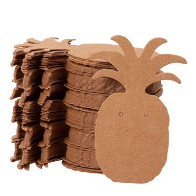Genie Crafts Earring Cards 300-Pack Earring Card Holder Pineapple Shaped Kraft Paper Jewelry Display Cards for Earrings Ear Studs Brown 1.75x2.5 Inch