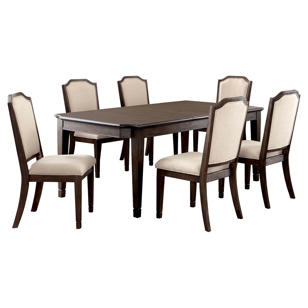 Sun & Pine 7pc Transitional Dining Set - Wire Brushed Brown