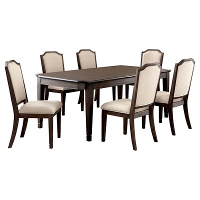 Sun U0026 Pine 7pc Transitional Dining Set   Wire Brushed Brown