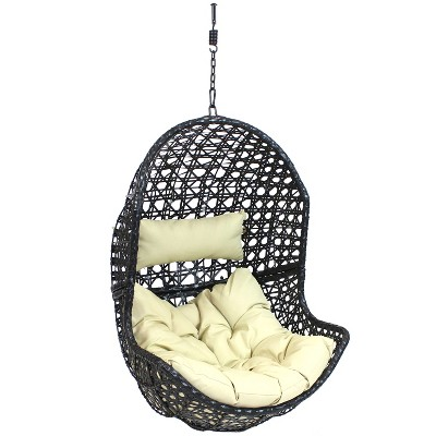 Lauren Hanging Egg Chair - Beige - Sunnydaze Decor