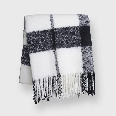 """60""""x50"""" Plaid Mohair Throw Blanket - EVERGRACE"""