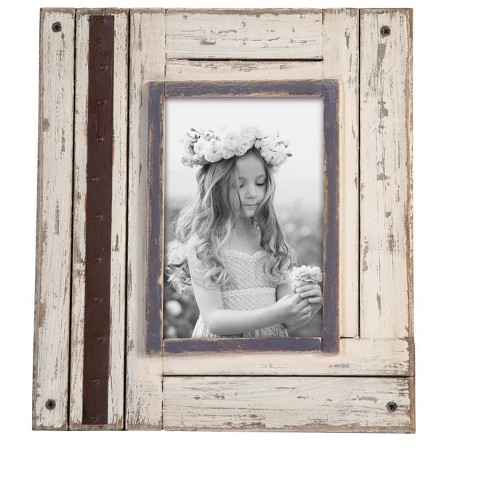 """4"""" x 6"""" Rustic Wood Photo Frame White - Foreside Home and Garden - image 1 of 2"""