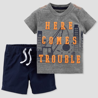 Baby Boys' 2pc Here Comes Trouble T-Shirt and Shorts Set - Just One You® made by carter's Gray/Navy Newborn