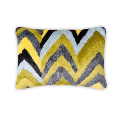 Oblong Faux Fur Chevron Decorative Throw Pillow Green/Teal - Opalhouse™
