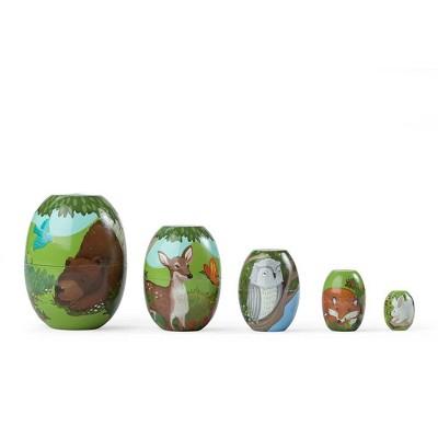 HearthSong - Children's Woodland Friends Stackable Wooden Nesting Eggs, Set of 5