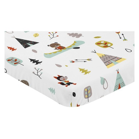 Sweet Jojo Designs Mini Fitted Sheet - Outdoor Adventure - Blue - image 1 of 2