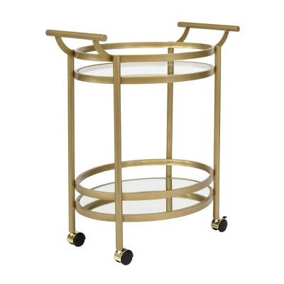 Palazzo Bar Cart with Clear Glass Gold - Studio Designs Home