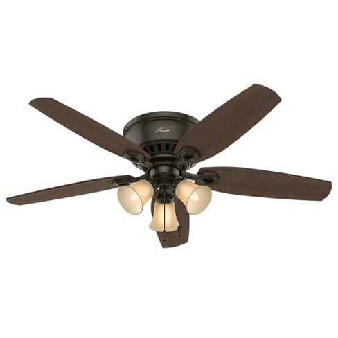 """52"""" Builder 3 Lights Ceiling Fan Bronze - Hunter Fan : Target"""